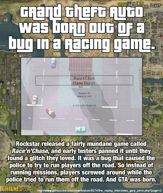 Gand theFt AUTO Was hoN OUt Of a bug IN a RacING game. Race'n'chase Game Design Version 1.05 March 22 1995 01995 DMA Desig Let Rockstar released a fai