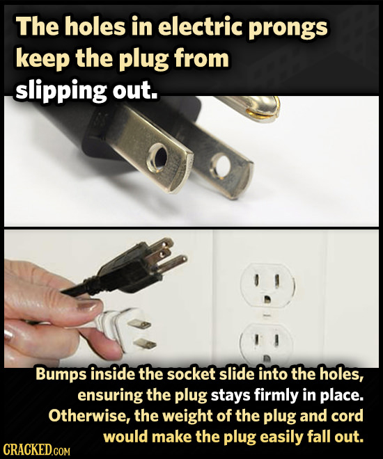 The holes in electric prongs keep the plug from slipping out. Bumps inside the socket slide into the holes, ensuring the plug stays firmly in place. O