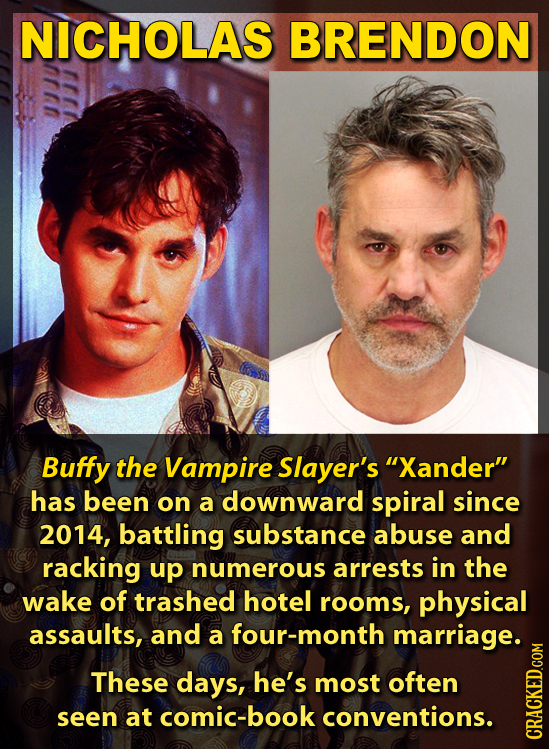 NICHOLAS BRENDON Buffy the Vampire Slayer's Xander has been on a downward spiral since 2014, battling substance abuse and racking up numerous arrest