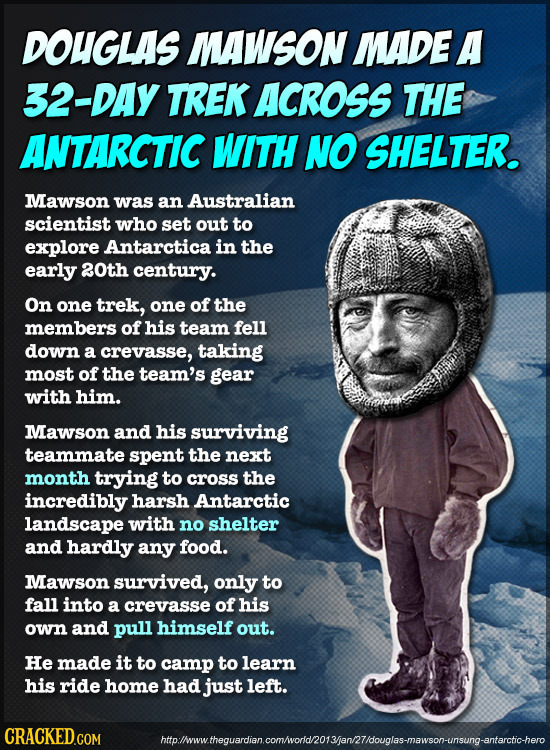 DOUGLAS MAWSON MADE A 32-DAY TREK ACROSS THE ANTARCTIC WITH NO SHELTER. Mawson was an Australian scientist who set out to explore Antarctica: in the e
