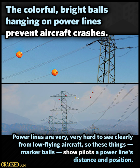 The colorful, bright balls hanging on power lines prevent aircraft crashes. Power lines are very, very hard to see clearly from flying aircraft, so th