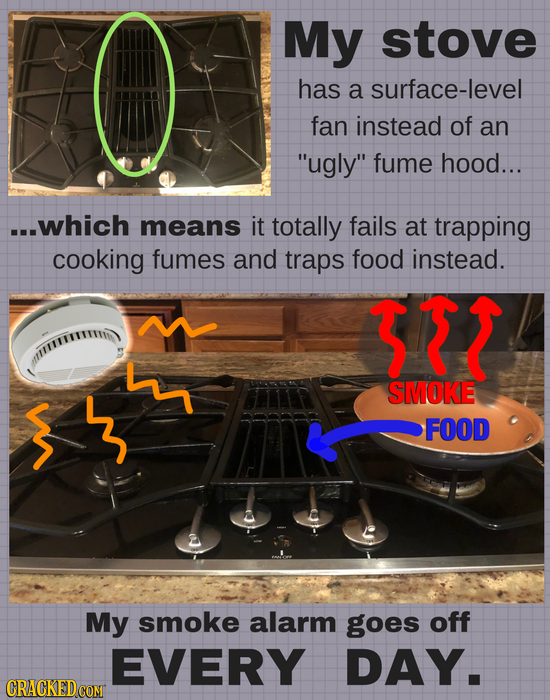 My stove has a surface-level fan instead of an ugly fume hood... ...which means it totally fails at trapping cooking fumes and traps food instead. 3