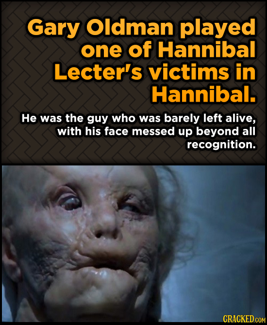 Gary Oldman played one of Hannibal Lecter's victims in Hannibal. He was the guy who was barely left alive, with his face messed up beyond all recognit