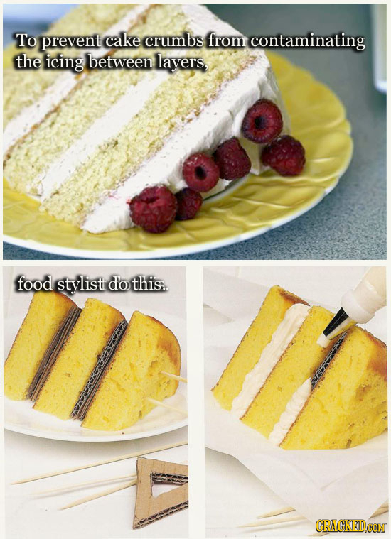 To prevent cake crumbs from contaminating the icing between layers, food stylisti do this..