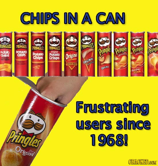 CHIPS IN A CAN (CRecant RINGLES PRINGLE PRINGLES PRINGLES PRINGLES PRINGLES Pringles Pringles POTO Paing OTATO Orkcinal Pringle Potlato CHpS CHIPS Pot