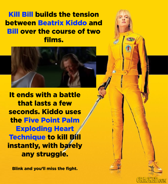 Kill Bill builds the tension between Beatrix Kiddo and Bill over the course of two films. It ends with a battle that lasts a few seconds. Kiddo uses t