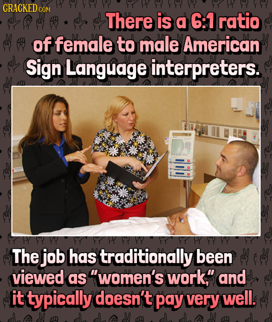 CRACKED C COM There is a 6:1 ratio of female to male American Sign Language interpreters. Y The job Has traditionally been viewed as women's work, a