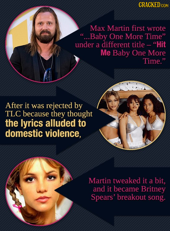 CRACKED Max Martin first wrote ...Baby One More Time under a different title - Hit Me Baby One More Time. After it was rejected by TLC because the