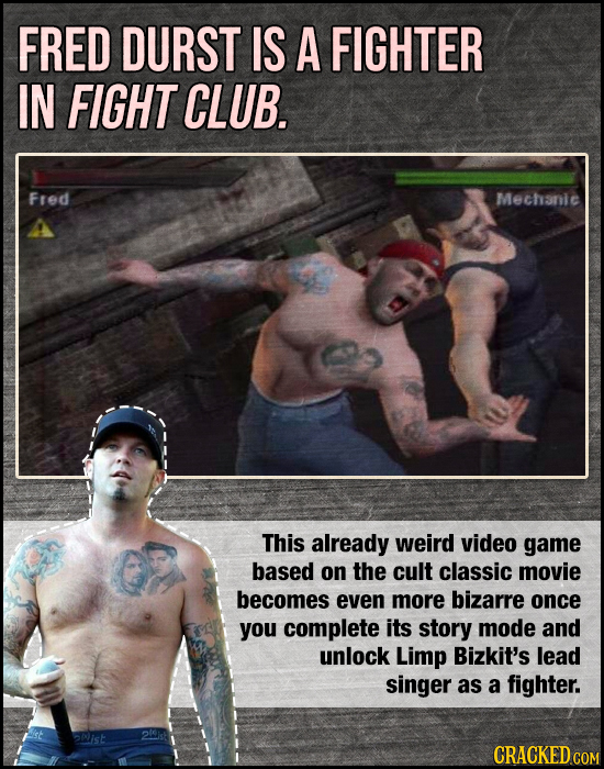 FRED DURST IS A FIGHTER IN FIGHT CLUB. Fred Mechanic This already weird video game based on the cult classic movie becomes even more bizarre once you