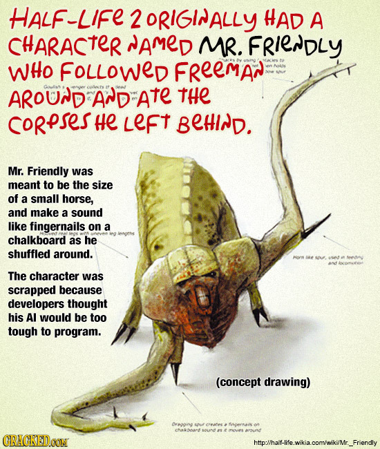 HALF-LIFE 2 2ORIGINALLY HAD A CHARACTER AMED MR. FRIENDLY WHO FOLLOWED FReEMAN Noaiss AROUND AND ate THE CORPSESH He Left BEHIND. Mr. Friendly was mea
