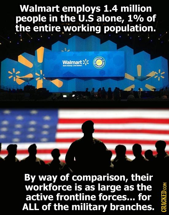 Walmart employs 1.4 million people in the U.S alone, 1% of the entire working population. Walmart HOneY cUwebettar. ARDOR By way of comparison, their
