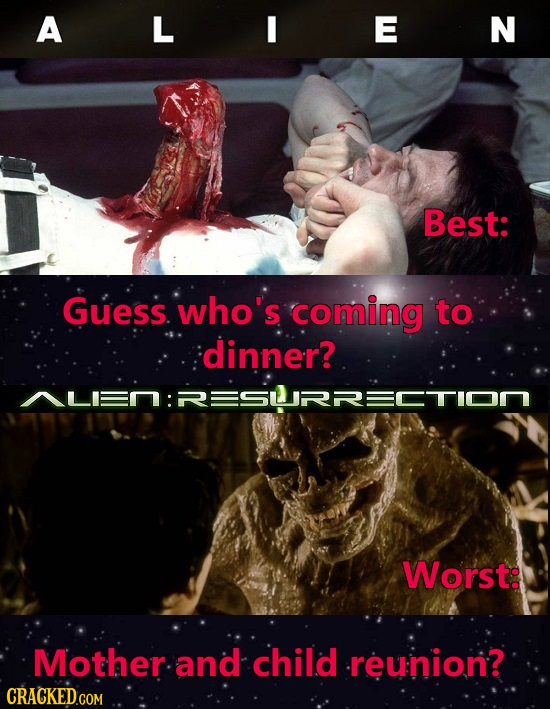 A L E N Best: Guess. who's coming to dinner? Worste Mother. and child -reunion?
