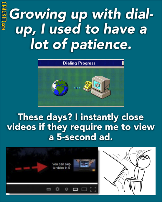Growing up with dial- up, I used to have a lot of patience. Dialing Progress These days? I instantly close videos if they require me to view a 5-secon