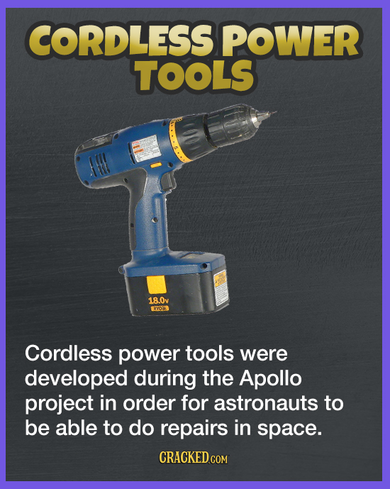 CORDLESS POWER TOOLS AH 18.0v ERTOTS Cordless power tools were developed during the Apollo project in order for astronauts to be able to do repairs in