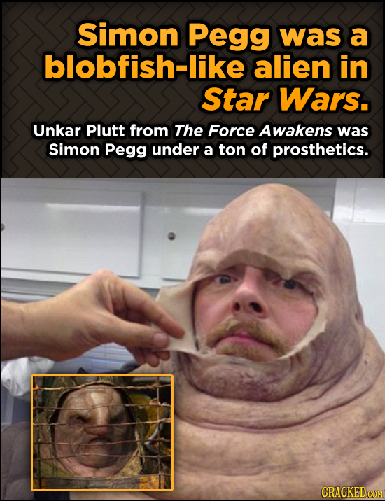 Simon Pegg was a blobfish-like alien in Star Wars. Unkar Plutt from The Force Awakens was Simon Pegg under a ton of prosthetics.