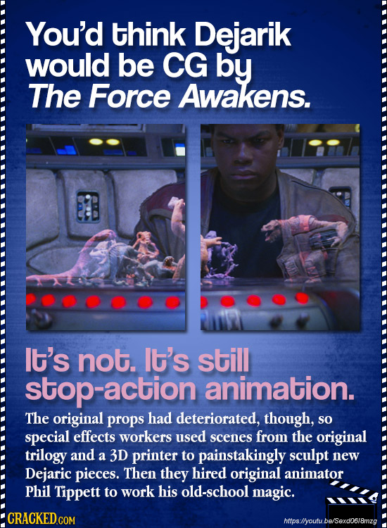 You'd think Dejarik would be CG by The Force Awakens. lt's not. It's still stop-action animation. The original props had deteriorated, though, sO spec