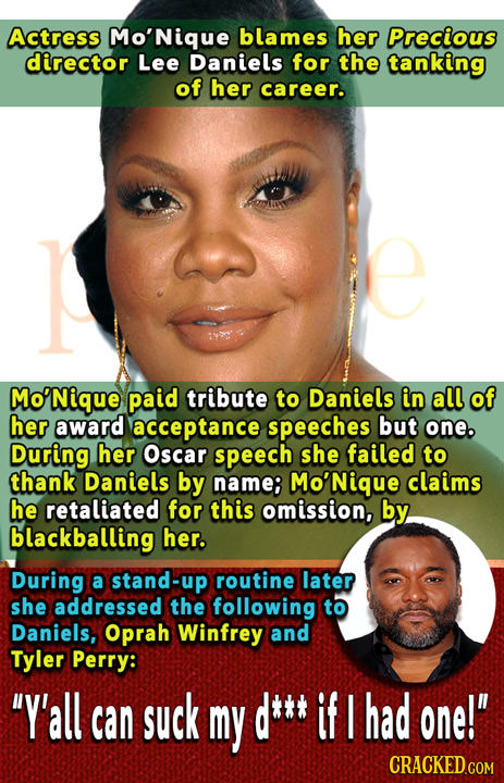 Actress Mo'Nique blames her Precious director Lee Daniels for the tanking of her career. o'Nique paid tribute to Daniels in all of her award acceptanc