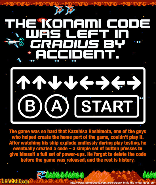 THE onam CODE LAS LEFT in GRADIUS BY ACCIDEnT. 1> BA B A START The game was SO hard that Kazuhisa Hashimoto, one of the guys who helped create the hom