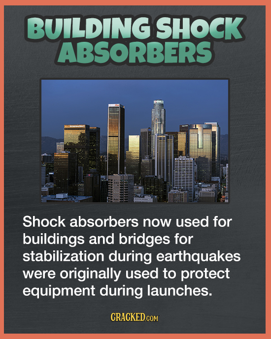 BUILDING SHOCK ABSORBERS Shock absorbers now used for buildings and bridges for stabilization during earthquakes were originally used to protect equip