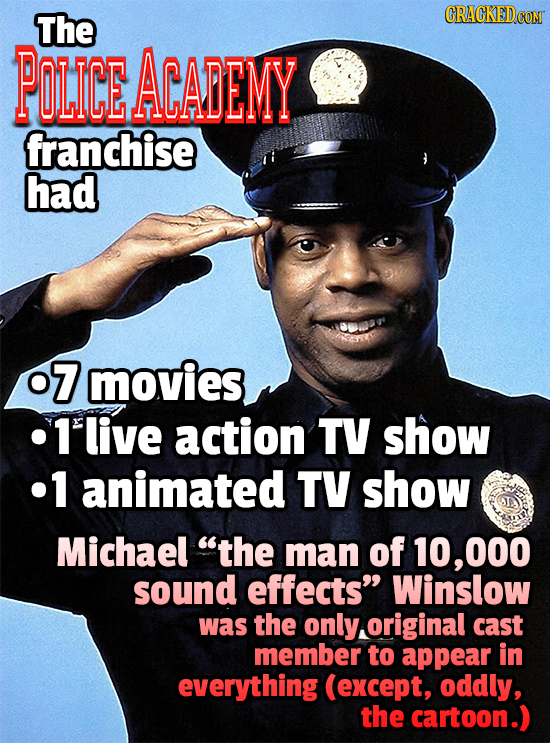 The CRACKED POLICE ACADEMY franchise had 07 movies 1'live action TV show .1 animated TV show Michael the man of 10,000 sound effects Winslow was the