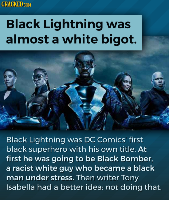 Black Lightning was almost a white bigot. Black Lightning was DC Comics' first black superhero with his own title. At first he was going to be Black B
