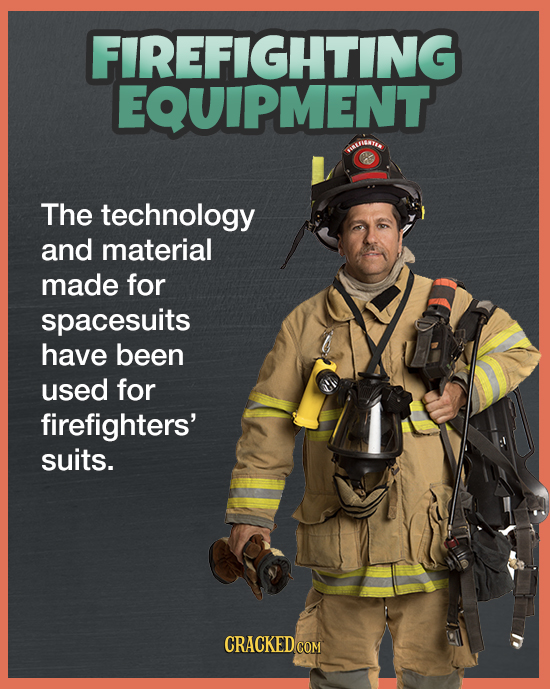 FIREFIGHTING EQUIPMENT SUIUGNTI The technology and material made for spacesuits have been used for firefighters' suits. CRACKED COM