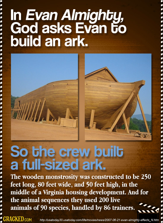 In Evan Aimighty, God asks Evan to build an ark. So the crew built a full-sized ark. The wooden monstrosity was constructed to be 250 feet long, 80 fe