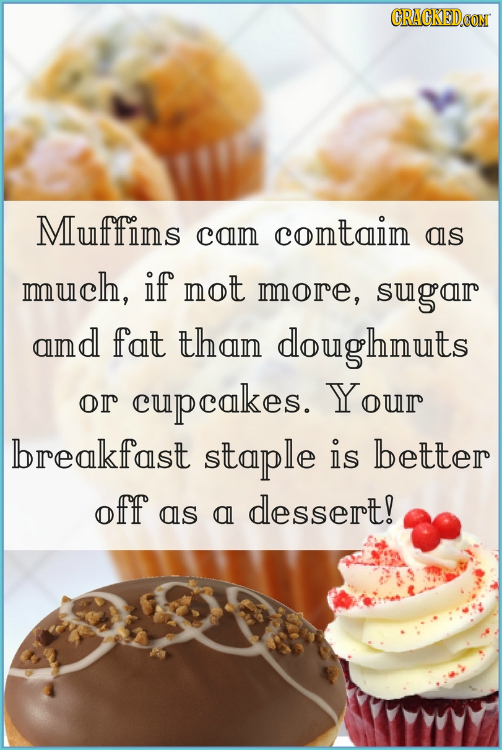 CRACKEDCON Muffins contain con as much, if not more, sugar aind fat than doughnuts Your or cupcakes. breakfast staple is better off dessert! as al