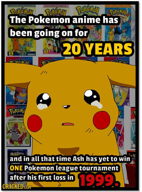 Pokemov poeMoy poKeMoy The Pokemon anime has been going on for 20YEARS Pokeo GAIMING GROU JUGM and in all that time ASh has yet to win ONE Pokemon lea