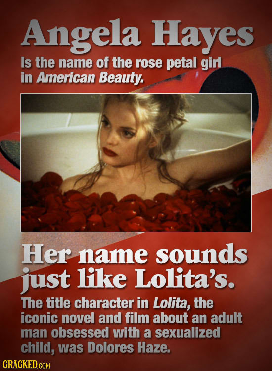 Angela Hayes Is the name of the rose petal girl in American Beauty. Her name sounds just like Lolita's. The title character in Lolita, the iconic nove