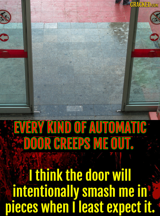 EVERY KIND OF AUTOMATIC DOOR CREEPS ME OUT. I think the door will intentionally smash me in pieces when I least expect it.