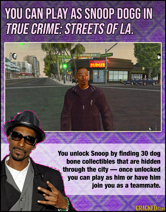 YOU CAN PLAY AS SNOOP DOGG IN TRUE CRIME: STREETS OF LA. Ctershawe BIvd Blvd 10002 BN BURGER You unlock Snoop by finding 30 dog bone collectibles that
