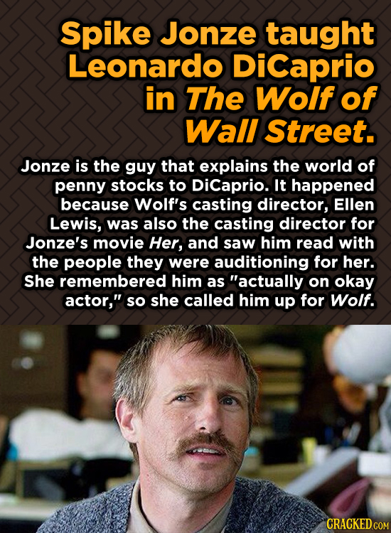 Spike Jonze taught Leonardo DiCaprio in The Wolf of Wall Street. Jonze is the guy that explains the world of penny stocks to Dicaprio. It happened bec