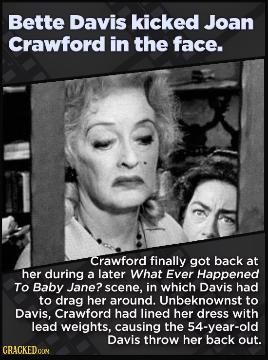 21 Beloved Celebrities Who Melted Down In Spectacular Ways - Crawford finally got back at  her during a later What Ever Happened  To Baby Jane? scene,