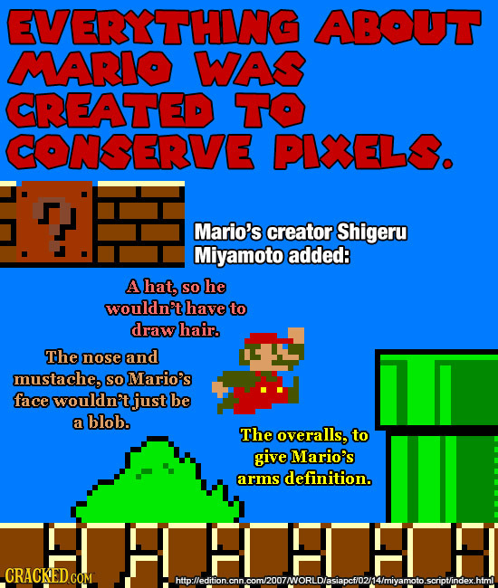 EVERYTHING ABOUT MARIO WAS CREATED TO CONSERVE PINELS. Mario's creator Shigeru Miyamoto added: A hat, SO he wouldn't have to draw hair. The nose and m