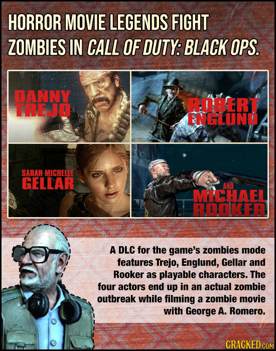 HORROR MOVIE LEGENDS FIGHT ZOMBIES IN CALL OF DUTY: BLACK OPS. DANNY ROBERT TREJ ENGLUND SARAH MICHELLE GELLAR AND MICHAEL BGKEB A DLC for the game's