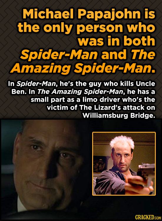 Michael Papajohn is the only person who was in both Spider-Man and The Amazing Spider-Man. In Spider-Man, he's the guy who kills Uncle Ben. In The Ama