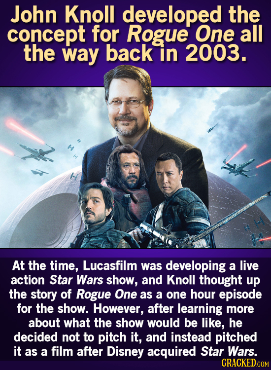 John Knoll developed the concept for Rogue One all the way back in 2003. At the time, Lucasfilm was developing a live action Star Wars show, and Knoll