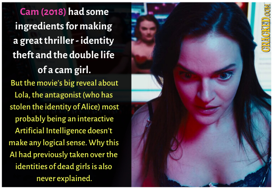 Cam (2018) had some ingredients for making a great thriller-identity theft and the double life GRACKEDOON of a cam girl. But the movie's big reveal ab