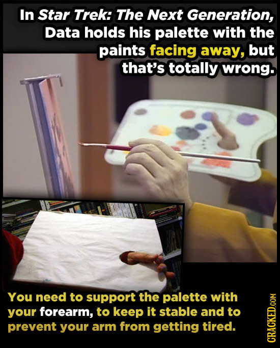 In Star Trek: The Next Generation, Data holds his palette with the paints facing away, but that's totally wrong. You need to support the palette with
