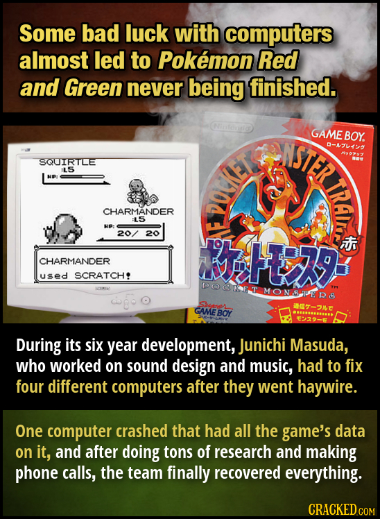 Some bad luck with computers almost led to Pokemon Red and Green never being finished. ASITR GAME BOY. -AFKY 19997 SQUIRTLE :L5 NP: TTET CHARMANDER :L