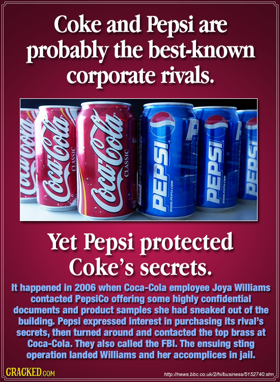 Coke and Pepsi are probably the best-known corporate rivals. 0o CLASSIC CLASSIC PEDG Coca-Cola PEPSLCEm Coca-Cola PEPSI PEPSI Yet Pepsi protected Coke