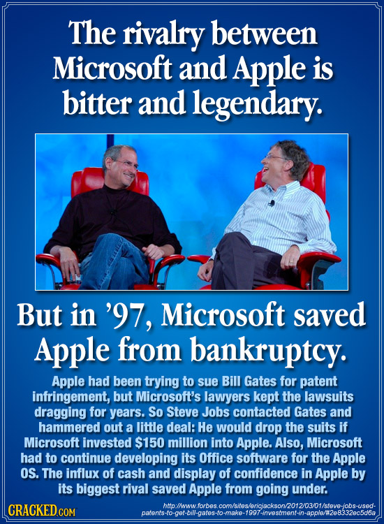 The rivalry between Microsoft and Apple is bitter and legendary. But in '97, Microsoft saved Apple from bankruptcy. Apple had been trying to sue Bill