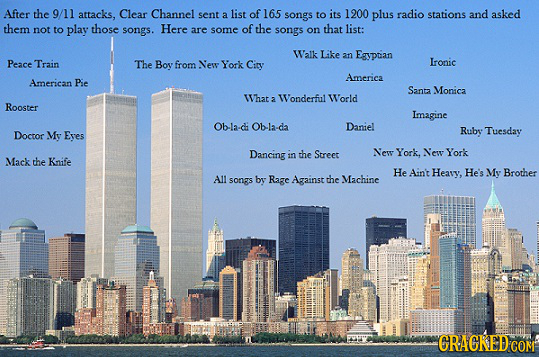After the 9/11 attacks, Clear Channel sent 1200 a list of 165 songs to its plus radio stations and asked them not to play those songs. Here are some o