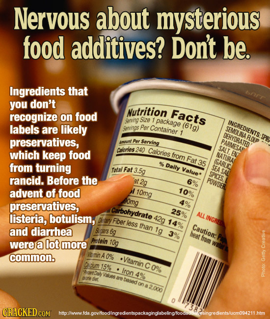 Neryous about mysterious food additives? Don't be. Ingredients that bnrr you don't Nutrition recognize food Facts on Sving Size 1 package labels are l