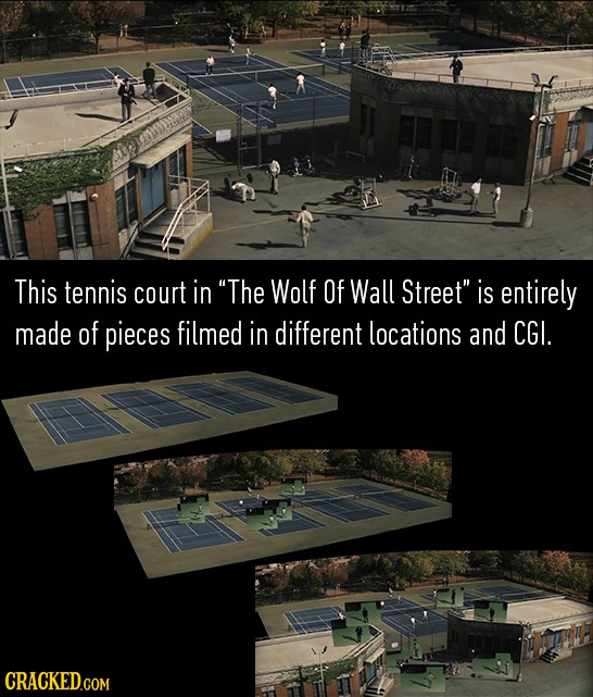 This tennis court in The Wolf Of Wall Street is entirely made of pieces filmed in different locations and CGI.