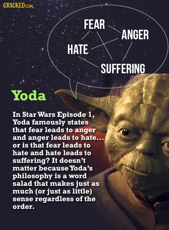 CRACKEDCOM. FEAR ANGER HATE SUFFERING Yoda In Star Wars Episode 1, Yoda famously states that fear leads to anger and anger leads to hate... or is that