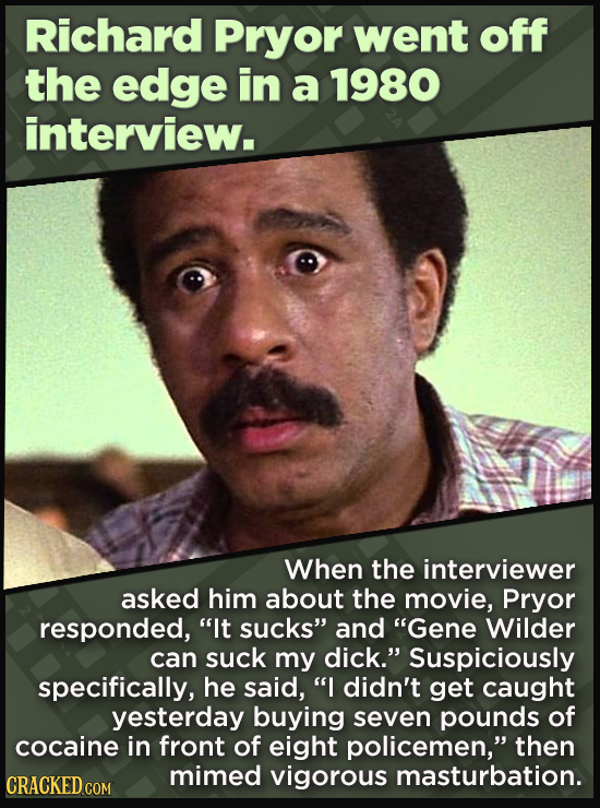 """21 Beloved Celebrities Who Melted Down In Spectacular Ways - When the interviewer  asked him about the movie, Pryor responded, """"It sucks"""" and """"Gene Wi"""