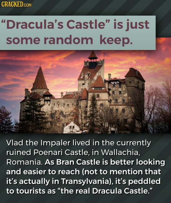 Dracula's Castle is just some random keep. Vlad the Impaler lived in the currently ruined Poenari Castle, in Wallachia, Romania. As Bran Castle is b