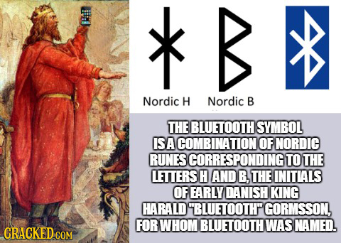 >k B Nordic H Nordic B THE BLUETOOTH SYMBOL ISA COMBINATION OF NORDIC RUNES SCORRESPONDINGTOT THE LETTERS H AND B. THE INITIALS OF EARLY DANISH KING H